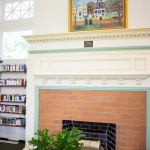 fireplace at a library