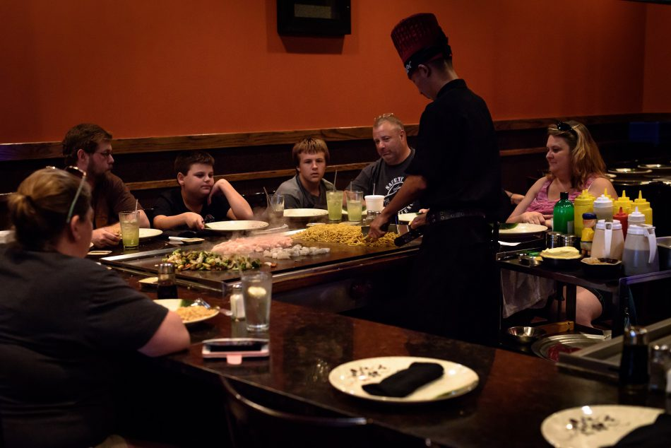people at a hibachi grill